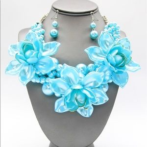 Aqua Acrylic Flower Pearl Necklace Earrings Set